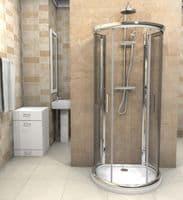 D Shaped Shower Enclosure 900mm x 770mm One Wall Quadrant Shower Cubicle   JT Spas